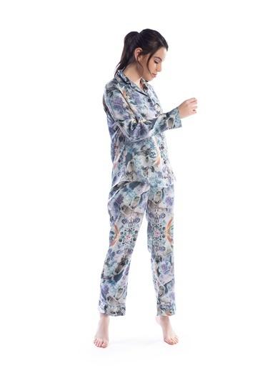 Pamuk & Pamuk Kadın Saten Karışık Desen Önden Düğmeli Pijama Renkli